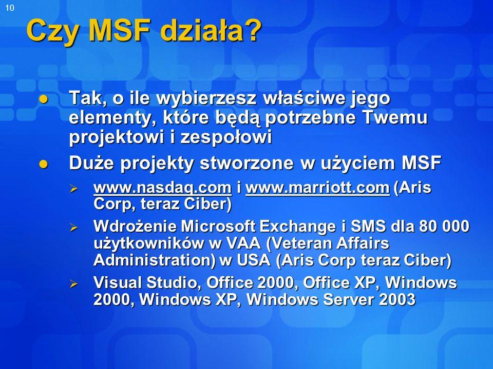 10 Czy MSF działa? Tak, o ile wybierzesz właściwe jego elementy, które będą potrzebne Twemu projektowi i zespołowi Tak, o ile wybierzesz właściwe jego