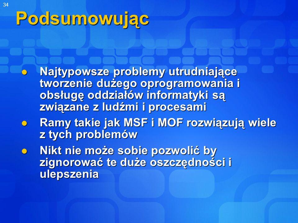 34Podsumowując Najtypowsze problemy utrudniające tworzenie dużego oprogramowania i obsługę oddziałów informatyki są związane z ludźmi i procesami Najt