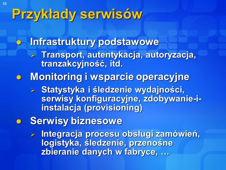 18 Przykłady serwisów Infrastruktury podstawowe Infrastruktury podstawowe Transport, autentykacja, autoryzacja, tranzakcyjność, itd. Transport, autent
