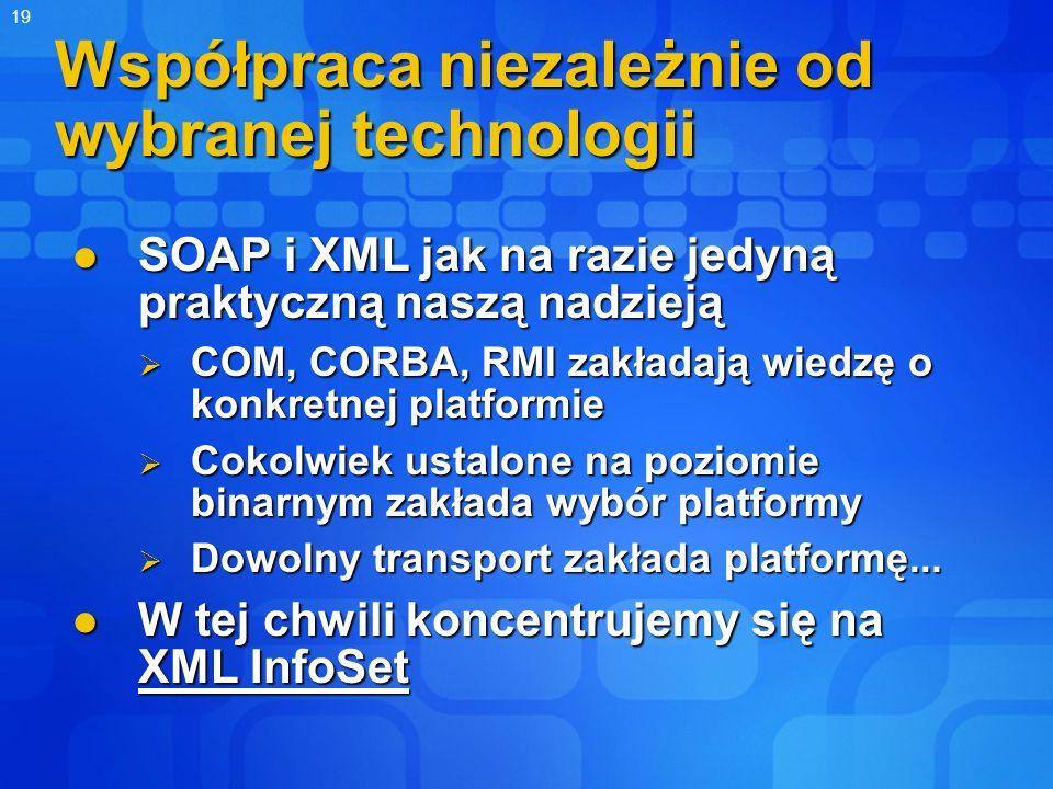 19 Współpraca niezależnie od wybranej technologii SOAP i XML jak na razie jedyną praktyczną naszą nadzieją SOAP i XML jak na razie jedyną praktyczną n