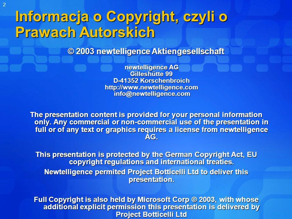 2 Informacja o Copyright, czyli o Prawach Autorskich © 2003 newtelligence Aktiengesellschaft newtelligence AG Gilleshütte 99 D-41352 Korschenbroich ht