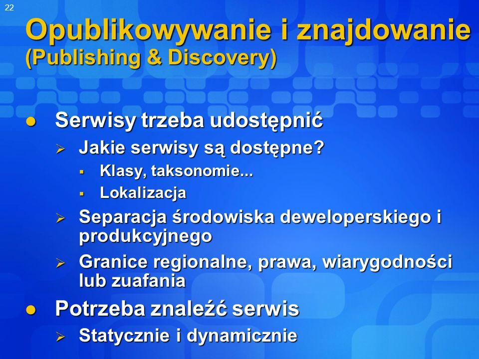 22 Opublikowywanie i znajdowanie (Publishing & Discovery) Serwisy trzeba udostępnić Serwisy trzeba udostępnić Jakie serwisy są dostępne? Jakie serwisy
