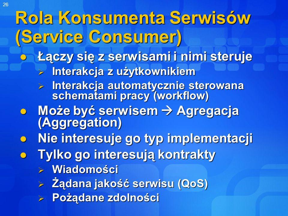 26 Rola Konsumenta Serwisów (Service Consumer) Łączy się z serwisami i nimi steruje Łączy się z serwisami i nimi steruje Interakcja z użytkownikiem In