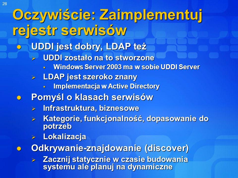 28 Oczywiście: Zaimplementuj rejestr serwisów UDDI jest dobry, LDAP też UDDI jest dobry, LDAP też UDDI zostało na to stworzone UDDI zostało na to stwo