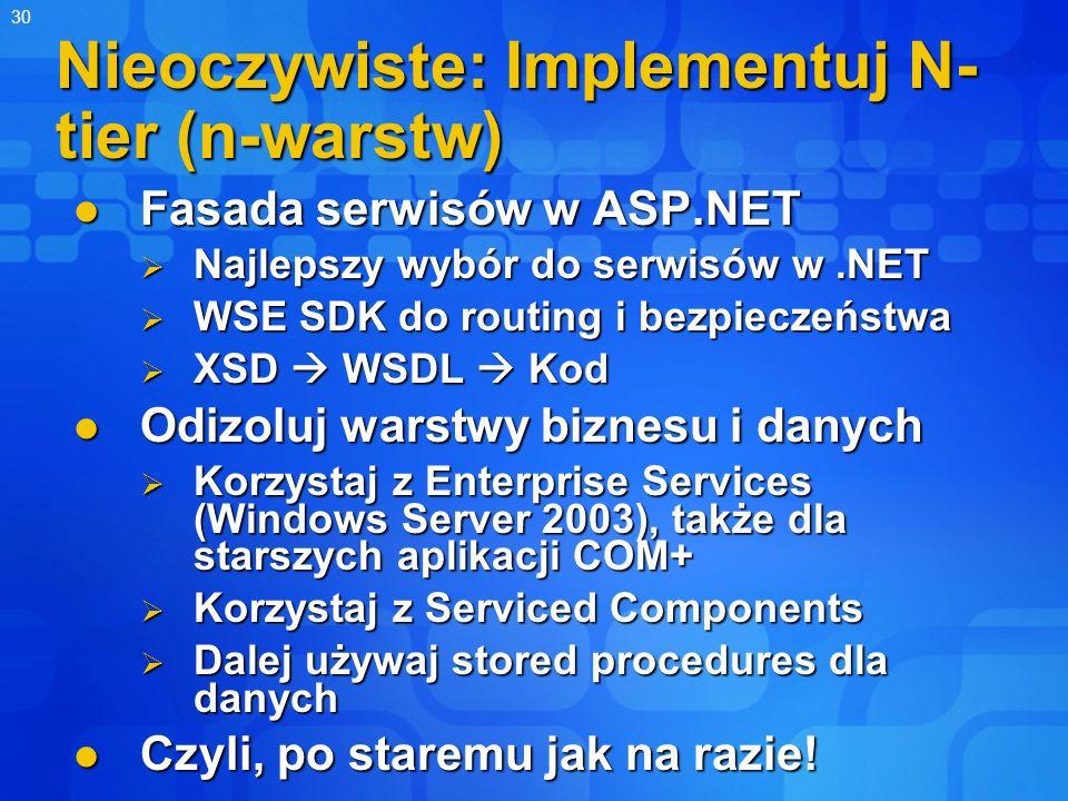 30 Nieoczywiste: Implementuj N- tier (n-warstw) Fasada serwisów w ASP.NET Fasada serwisów w ASP.NET Najlepszy wybór do serwisów w.NET Najlepszy wybór