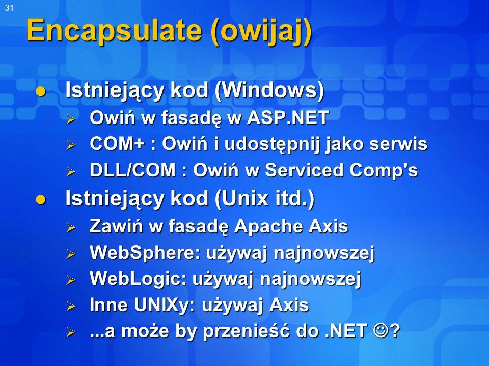 31 Encapsulate (owijaj) Istniejący kod (Windows) Istniejący kod (Windows) Owiń w fasadę w ASP.NET Owiń w fasadę w ASP.NET COM+ : Owiń i udostępnij jak