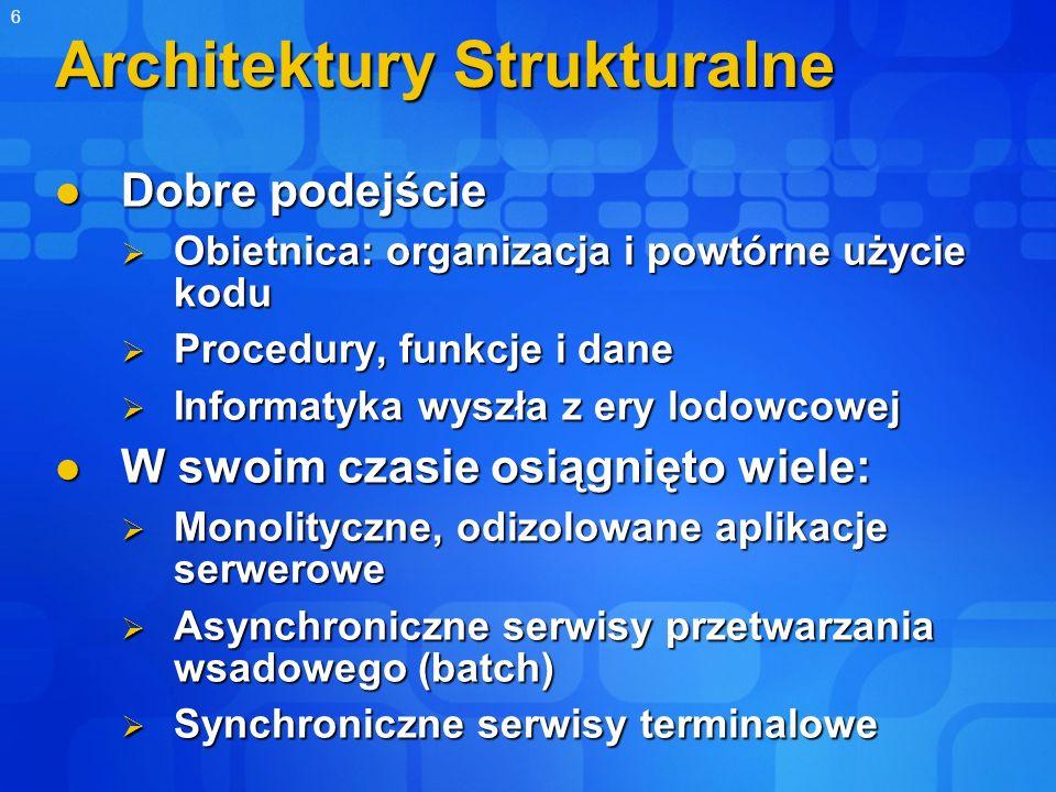6 Architektury Strukturalne Dobre podejście Dobre podejście Obietnica: organizacja i powtórne użycie kodu Obietnica: organizacja i powtórne użycie kod