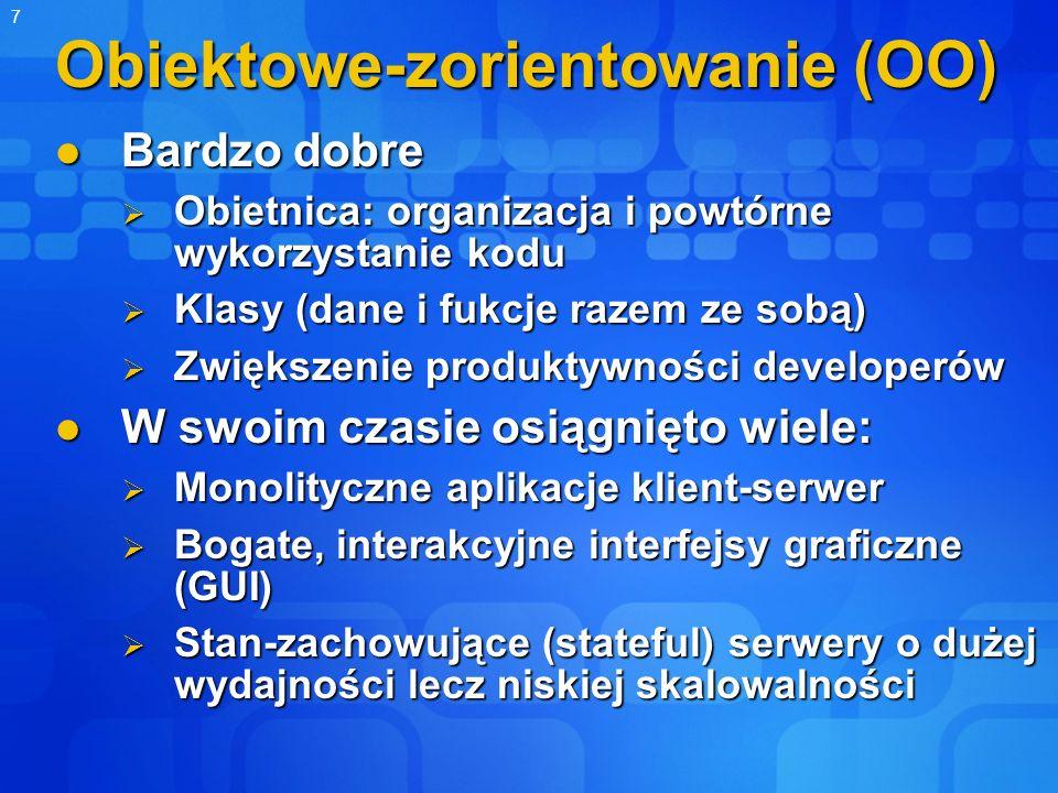 7 Obiektowe-zorientowanie (OO) Bardzo dobre Bardzo dobre Obietnica: organizacja i powtórne wykorzystanie kodu Obietnica: organizacja i powtórne wykorz