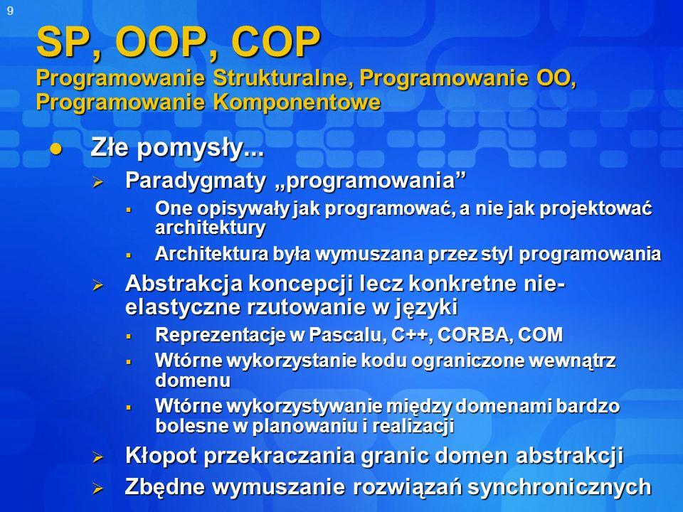 9 SP, OOP, COP Programowanie Strukturalne, Programowanie OO, Programowanie Komponentowe Złe pomysły... Złe pomysły... Paradygmaty programowania Parady