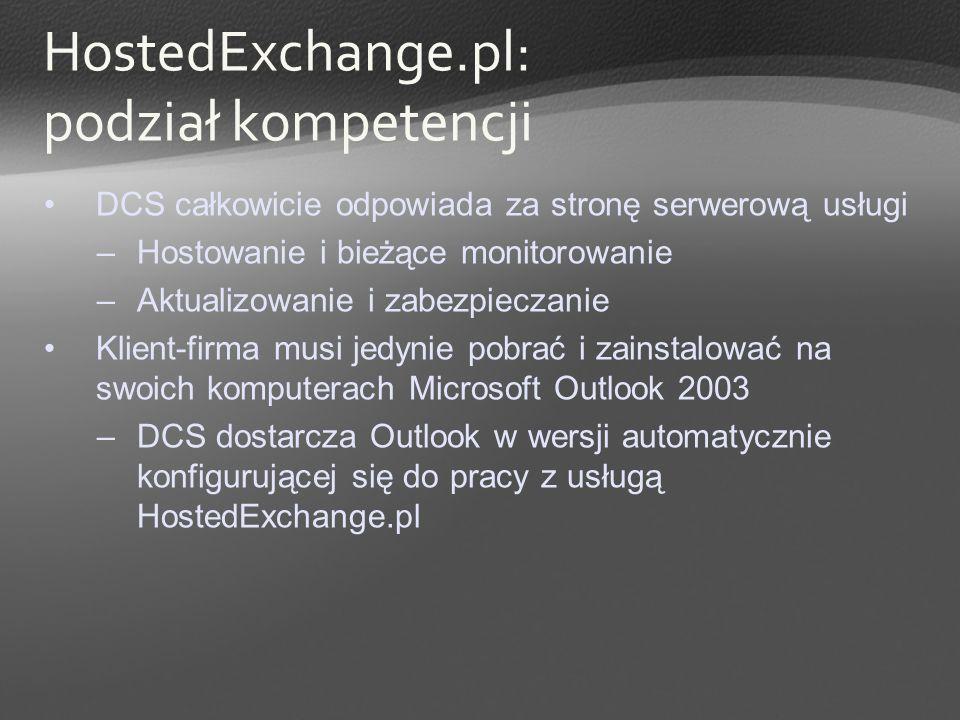HostedExchange.pl: podział kompetencji DCS całkowicie odpowiada za stronę serwerową usługi –Hostowanie i bieżące monitorowanie –Aktualizowanie i zabez