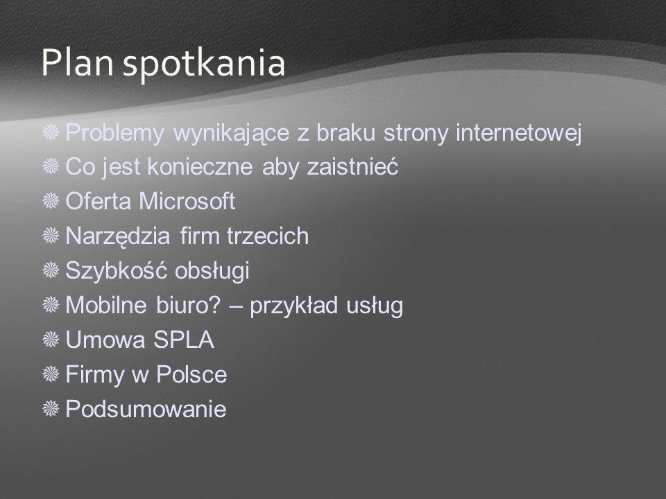 Przykład oferty HostedExchange.pl Pierwsza w Polsce usługa hostingu Microsoft Exchange Server 2003 Dla firm SMB Niskie stałe koszty Gwarantowane SLA Premiera komercyjna w trakcie MTS 2006.