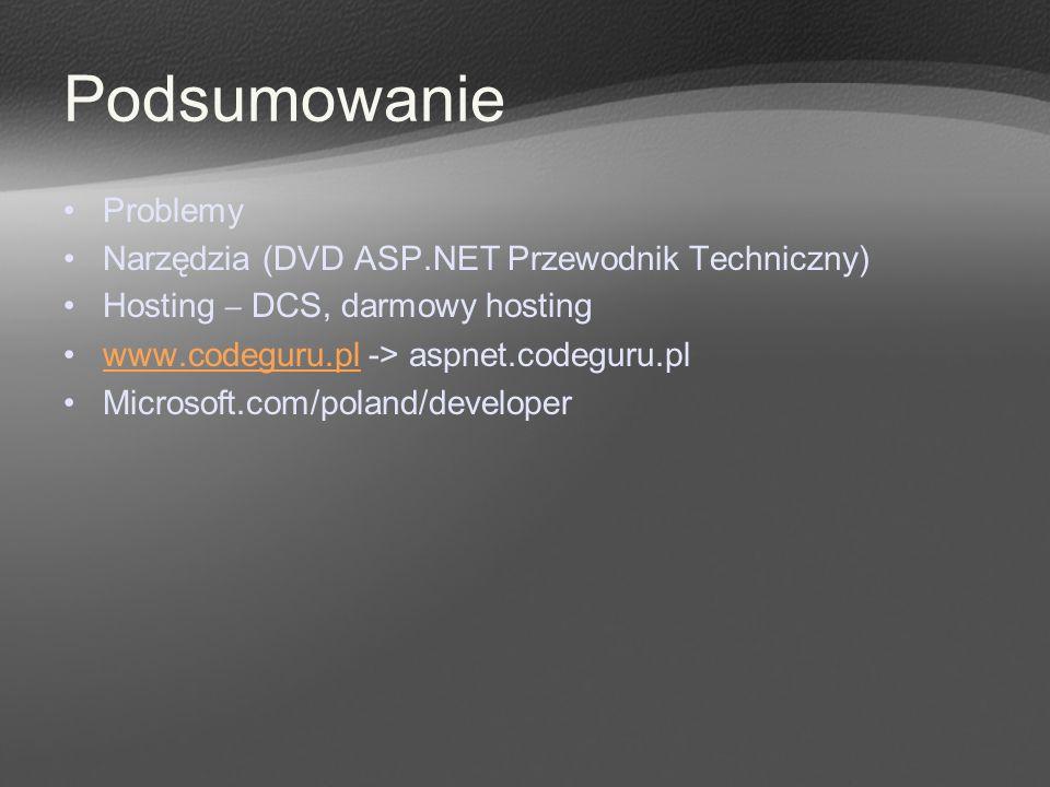 Podsumowanie Problemy Narzędzia (DVD ASP.NET Przewodnik Techniczny) Hosting – DCS, darmowy hosting www.codeguru.pl -> aspnet.codeguru.plwww.codeguru.p