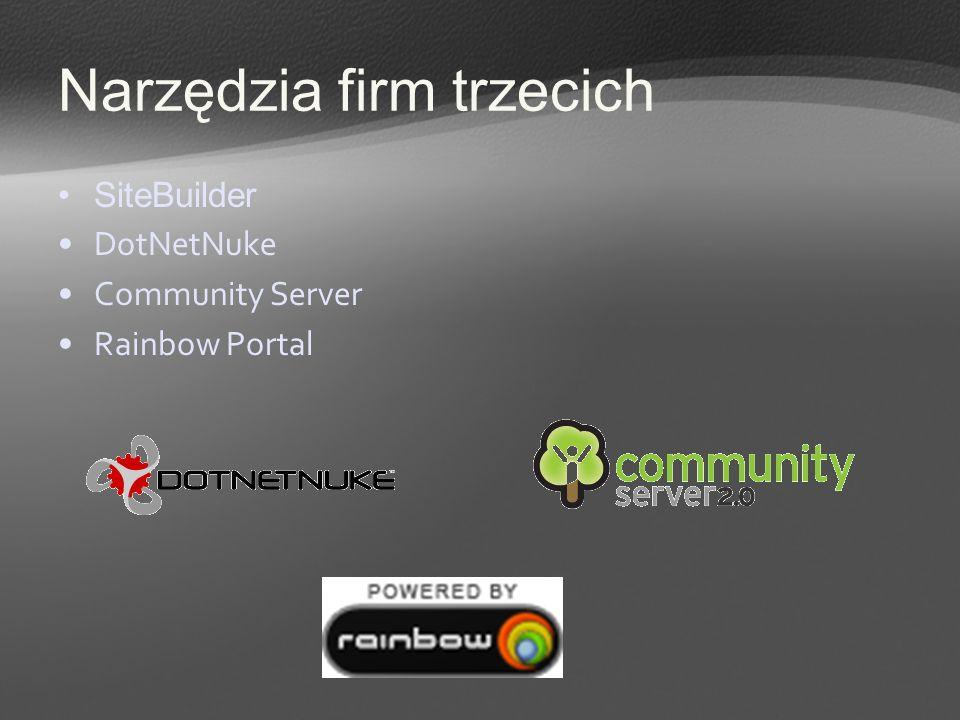 Narzędzia firm trzecich SiteBuilder DotNetNuke Community Server Rainbow Portal