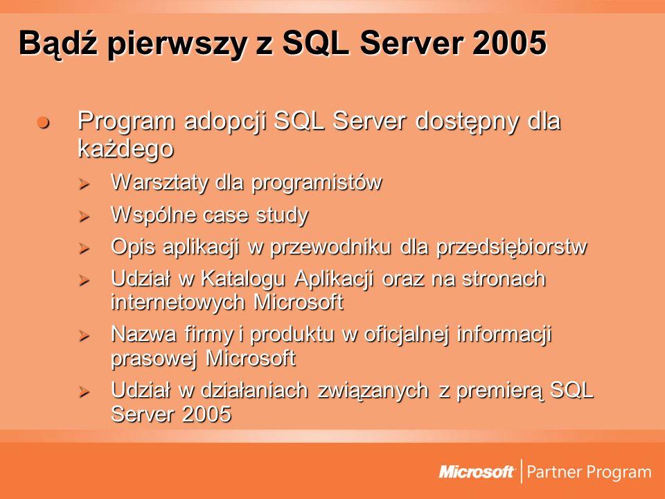 Bądź pierwszy z SQL Server 2005 Program adopcji SQL Server dostępny dla każdego Program adopcji SQL Server dostępny dla każdego Warsztaty dla programi