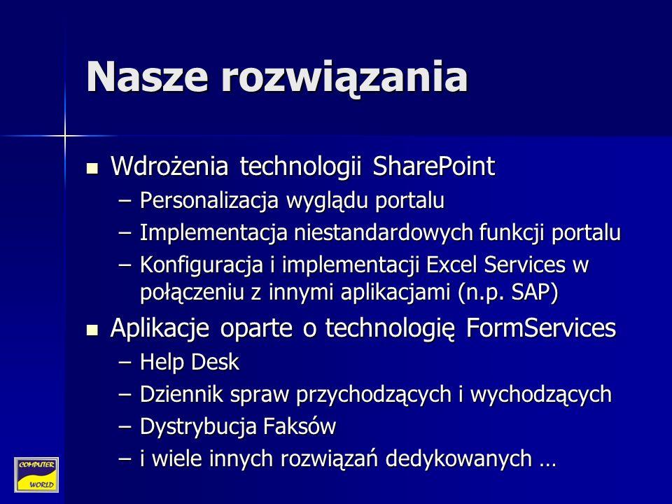 Nasze rozwiązania Wdrożenia technologii SharePoint Wdrożenia technologii SharePoint –Personalizacja wyglądu portalu –Implementacja niestandardowych funkcji portalu –Konfiguracja i implementacji Excel Services w połączeniu z innymi aplikacjami (n.p.