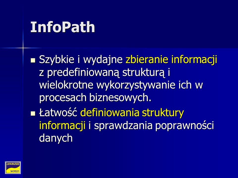 InfoPath Szybkie i wydajne zbieranie informacji z predefiniowaną strukturą i wielokrotne wykorzystywanie ich w procesach biznesowych.
