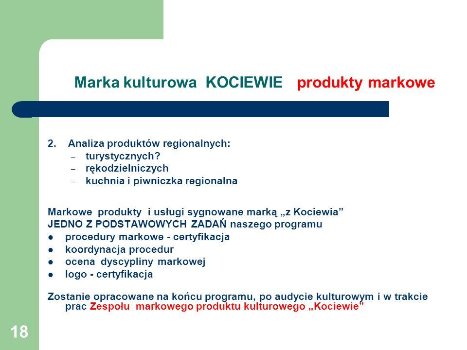 18 Marka kulturowa KOCIEWIE produkty markowe 2. Analiza produktów regionalnych: – turystycznych? – rękodzielniczych – kuchnia i piwniczka regionalna M
