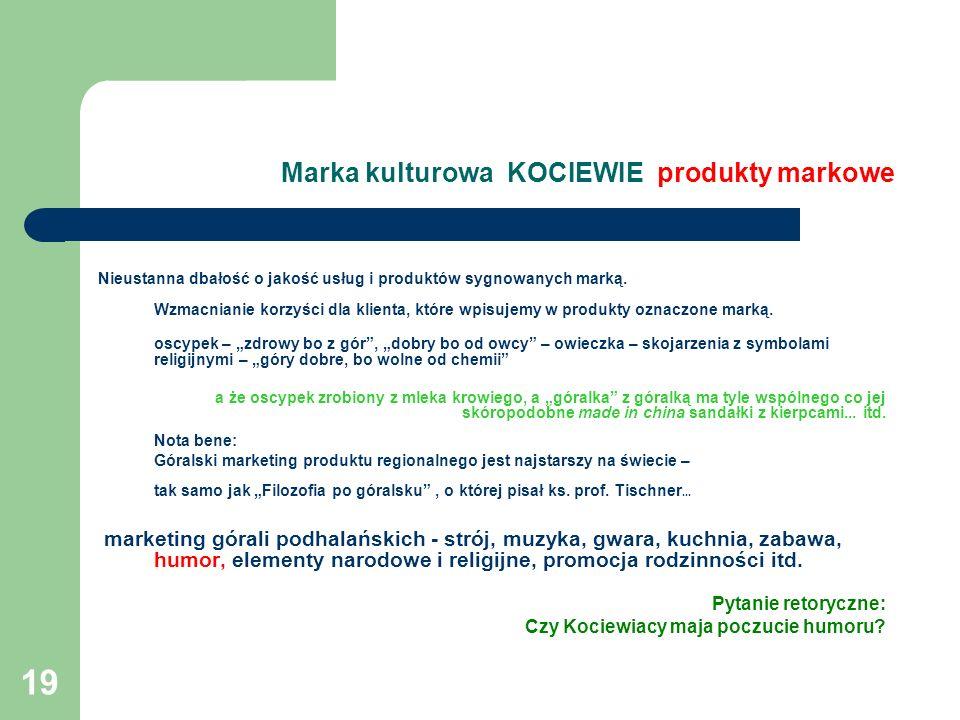 19 Marka kulturowa KOCIEWIE produkty markowe Nieustanna dbałość o jakość usług i produktów sygnowanych marką. Wzmacnianie korzyści dla klienta, które