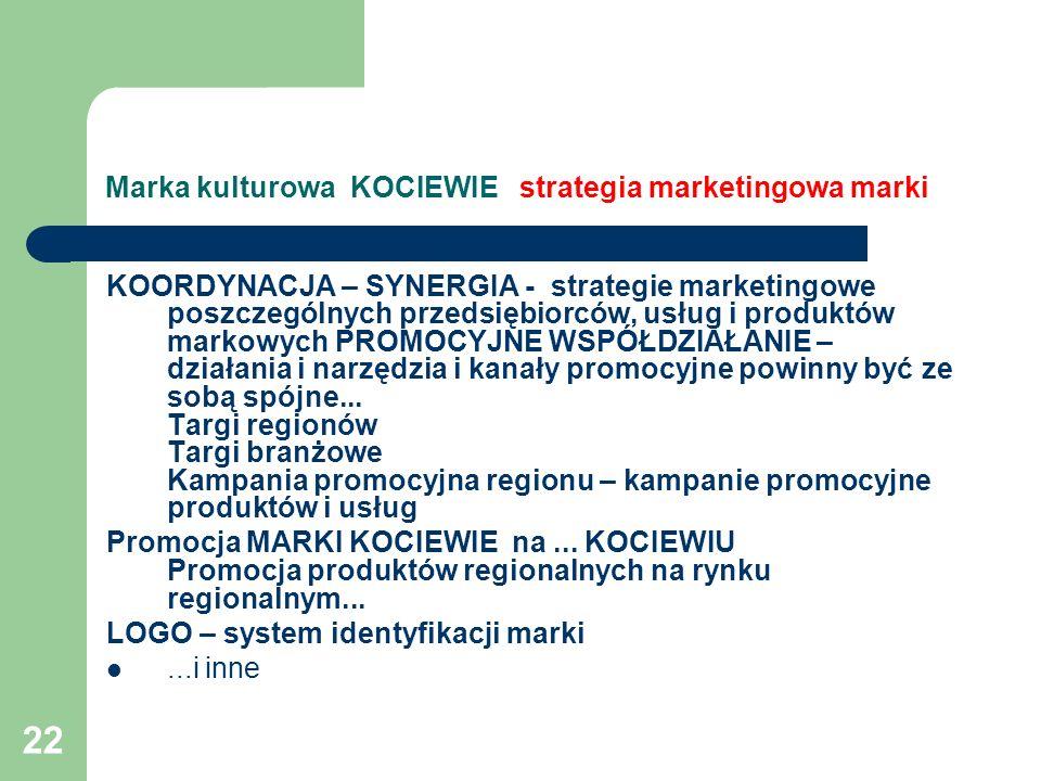 22 Marka kulturowa KOCIEWIE strategia marketingowa marki KOORDYNACJA – SYNERGIA - strategie marketingowe poszczególnych przedsiębiorców, usług i produ