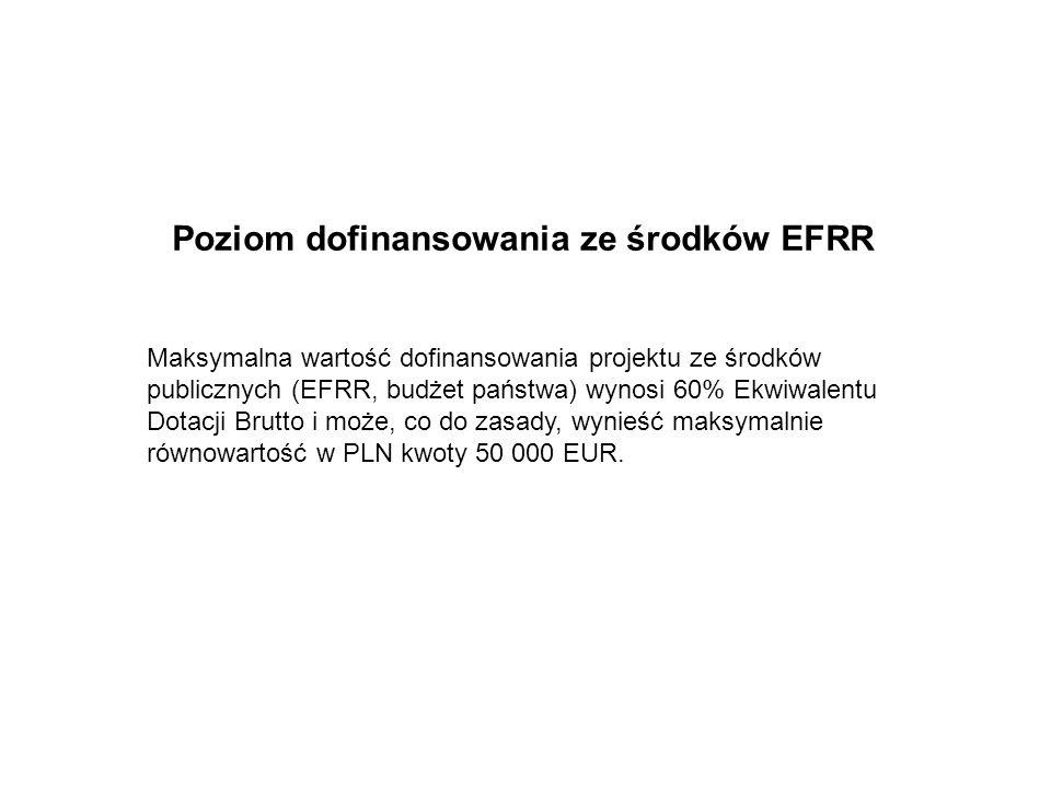 Poziom dofinansowania ze środków EFRR Maksymalna wartość dofinansowania projektu ze środków publicznych (EFRR, budżet państwa) wynosi 60% Ekwiwalentu Dotacji Brutto i może, co do zasady, wynieść maksymalnie równowartość w PLN kwoty 50 000 EUR.