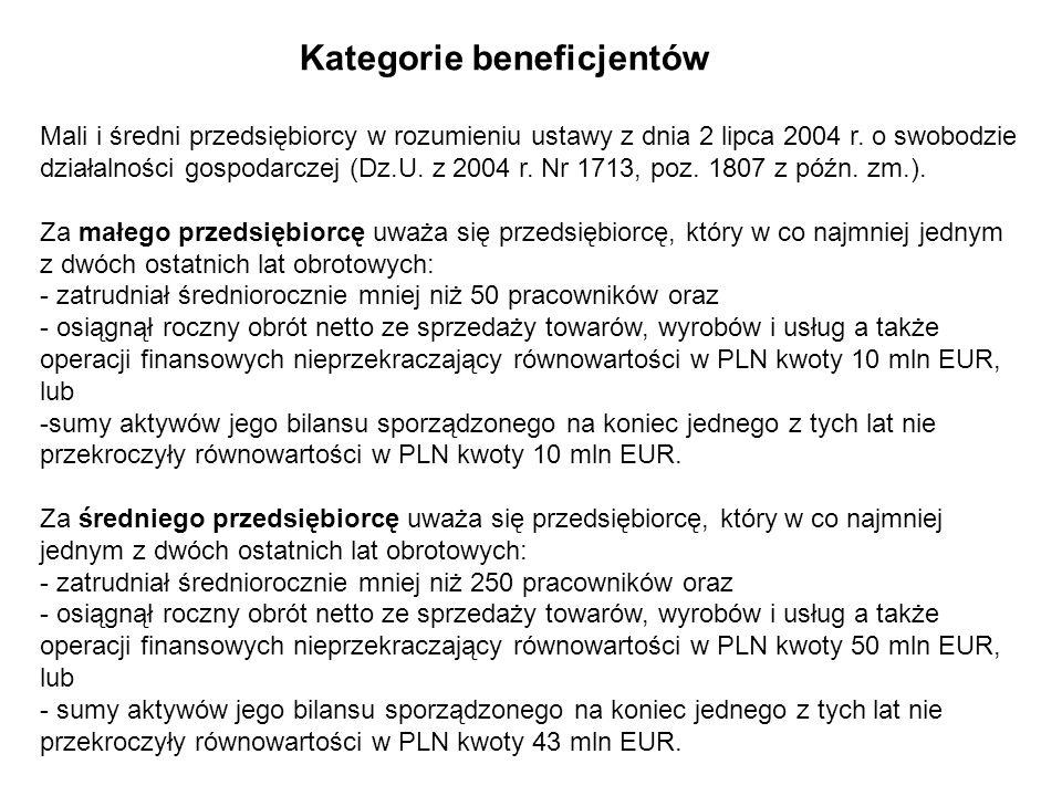 Kategorie beneficjentów Mali i średni przedsiębiorcy w rozumieniu ustawy z dnia 2 lipca 2004 r. o swobodzie działalności gospodarczej (Dz.U. z 2004 r.