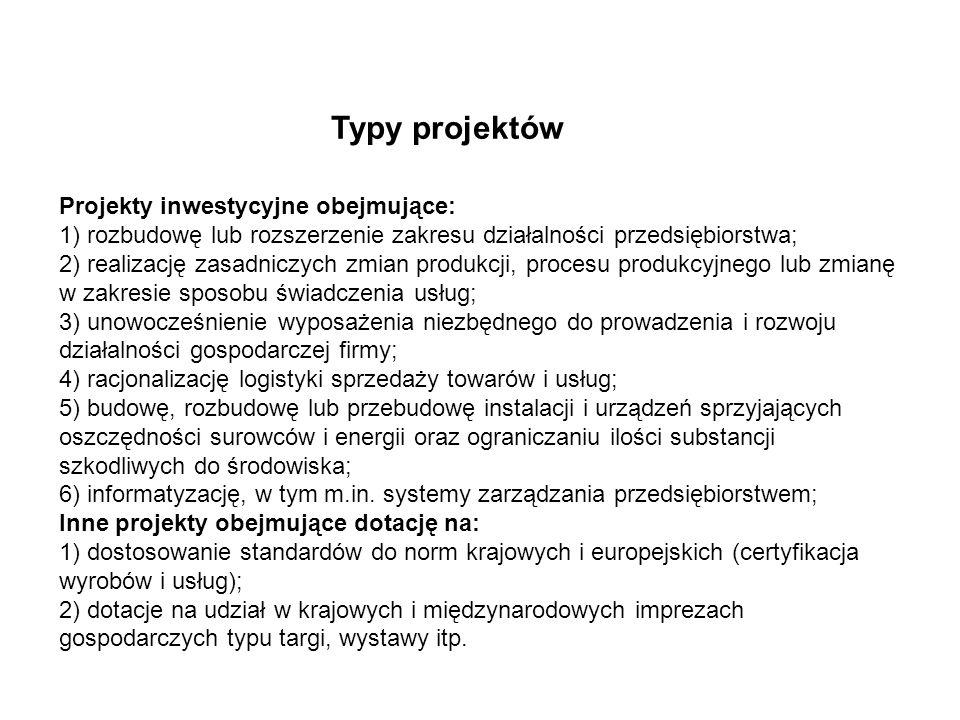 Typy projektów Projekty inwestycyjne obejmujące: 1) rozbudowę lub rozszerzenie zakresu działalności przedsiębiorstwa; 2) realizację zasadniczych zmian