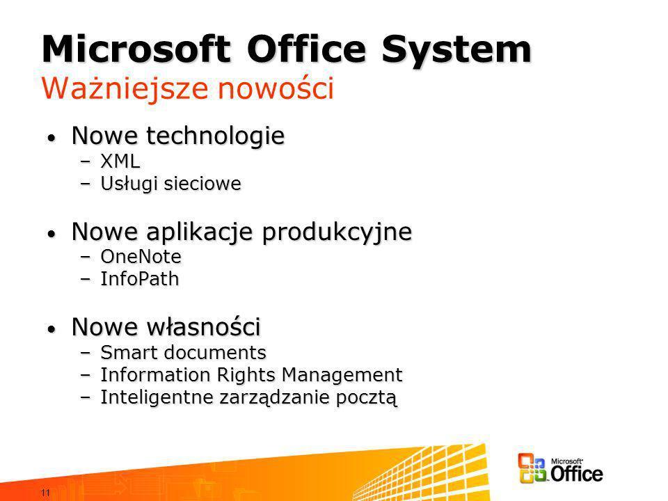 11 Microsoft Office System Microsoft Office System Ważniejsze nowości Nowe technologie Nowe technologie –XML –Usługi sieciowe Nowe aplikacje produkcyjne Nowe aplikacje produkcyjne –OneNote –InfoPath Nowe własności Nowe własności –Smart documents –Information Rights Management –Inteligentne zarządzanie pocztą
