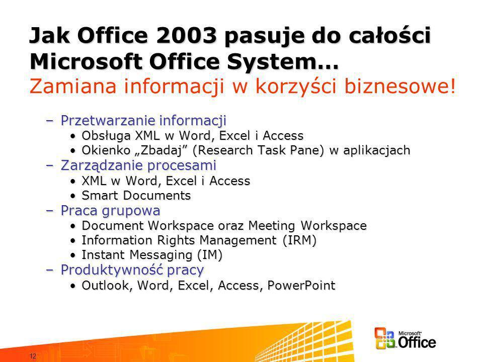 12 Jak Office 2003 pasuje do całości Microsoft Office System… Jak Office 2003 pasuje do całości Microsoft Office System… Zamiana informacji w korzyści biznesowe.