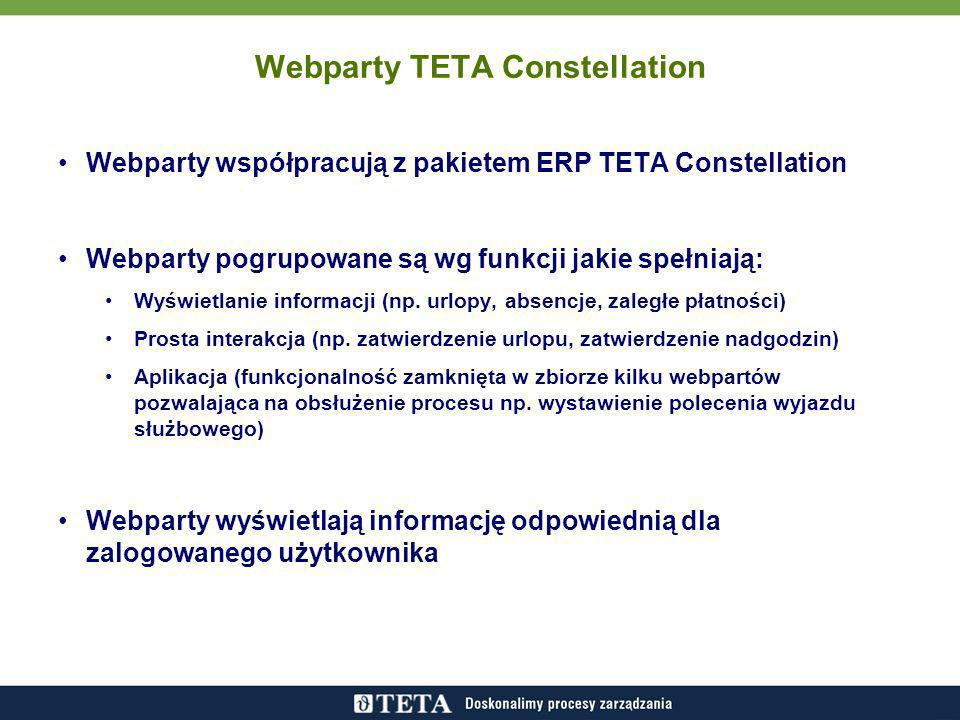 Webparty współpracują z pakietem ERP TETA Constellation Webparty pogrupowane są wg funkcji jakie spełniają: Wyświetlanie informacji (np. urlopy, absen