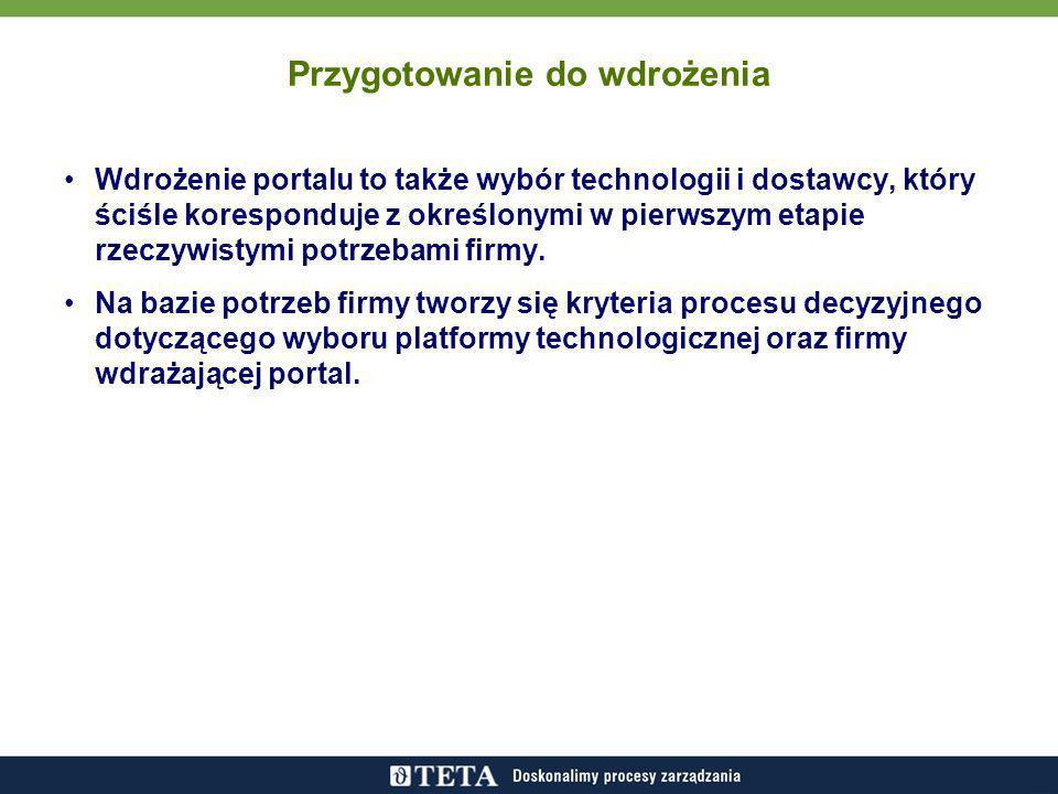 Przygotowanie do wdrożenia Wdrożenie portalu to także wybór technologii i dostawcy, który ściśle koresponduje z określonymi w pierwszym etapie rzeczywistymi potrzebami firmy.