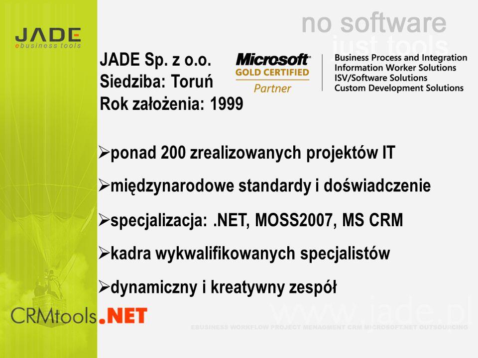 międzynarodowe standardy i doświadczenie specjalizacja:.NET, MOSS2007, MS CRM ponad 200 zrealizowanych projektów IT kadra wykwalifikowanych specjalist
