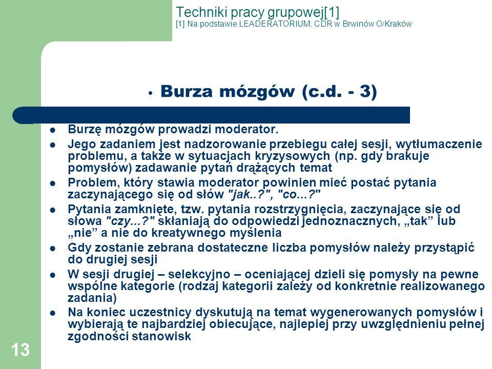 13 Techniki pracy grupowej[1] [1] Na podstawie LEADERATORIUM; CDR w Brwinów O/Kraków Burza mózgów (c.d. - 3) Burzę mózgów prowadzi moderator. Jego zad