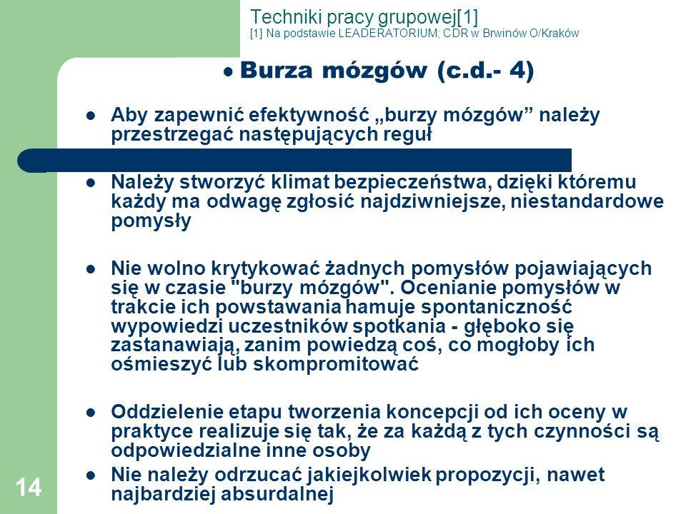 14 Techniki pracy grupowej[1] [1] Na podstawie LEADERATORIUM; CDR w Brwinów O/Kraków Burza mózgów (c.d.- 4) Aby zapewnić efektywność burzy mózgów nale
