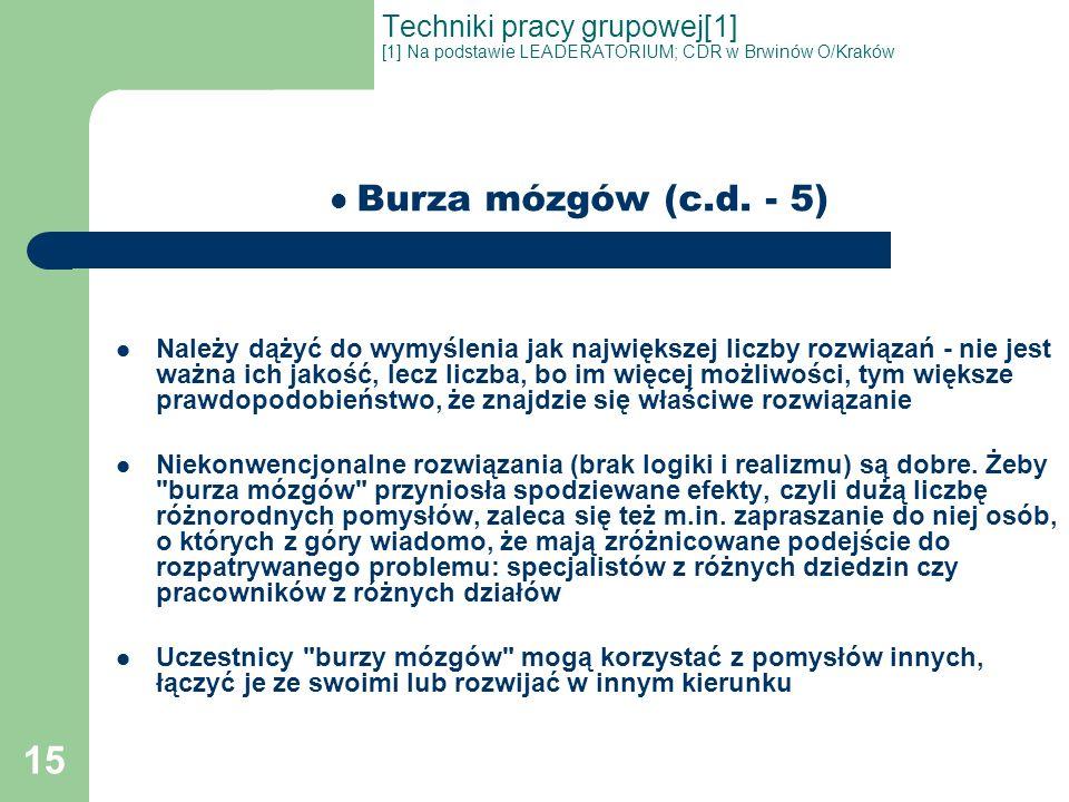 15 Techniki pracy grupowej[1] [1] Na podstawie LEADERATORIUM; CDR w Brwinów O/Kraków Burza mózgów (c.d. - 5) Należy dążyć do wymyślenia jak największe