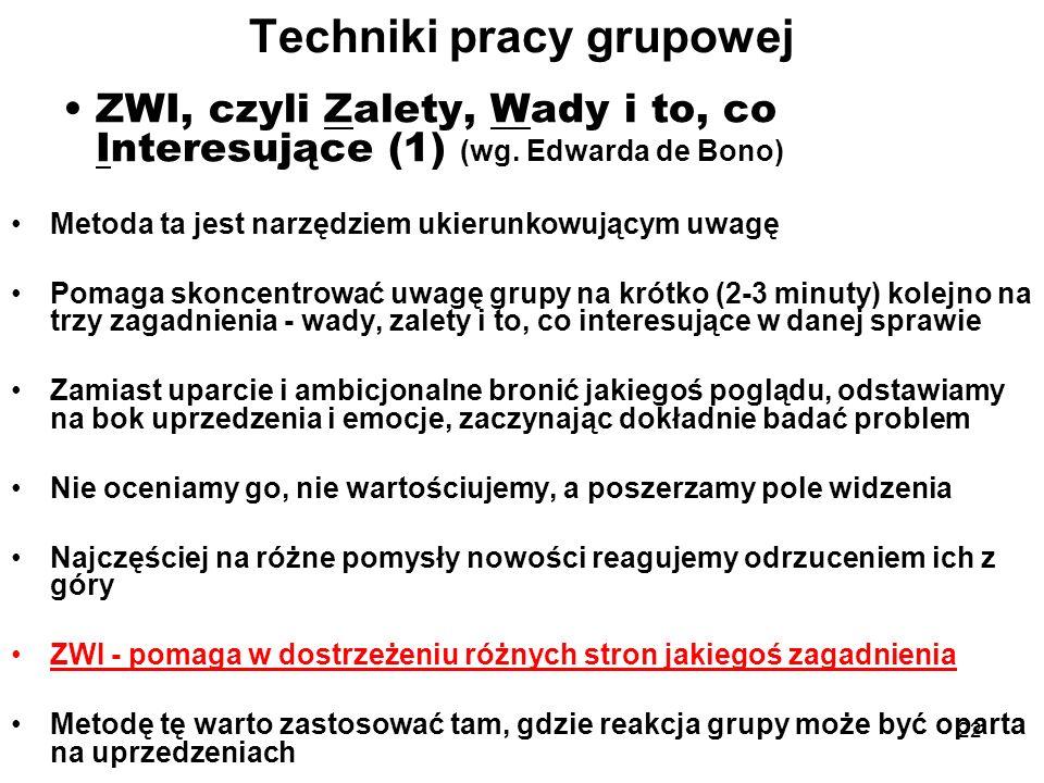 22 Techniki pracy grupowej ZWI, czyli Zalety, Wady i to, co Interesujące (1) (wg. Edwarda de Bono) Metoda ta jest narzędziem ukierunkowującym uwagę Po