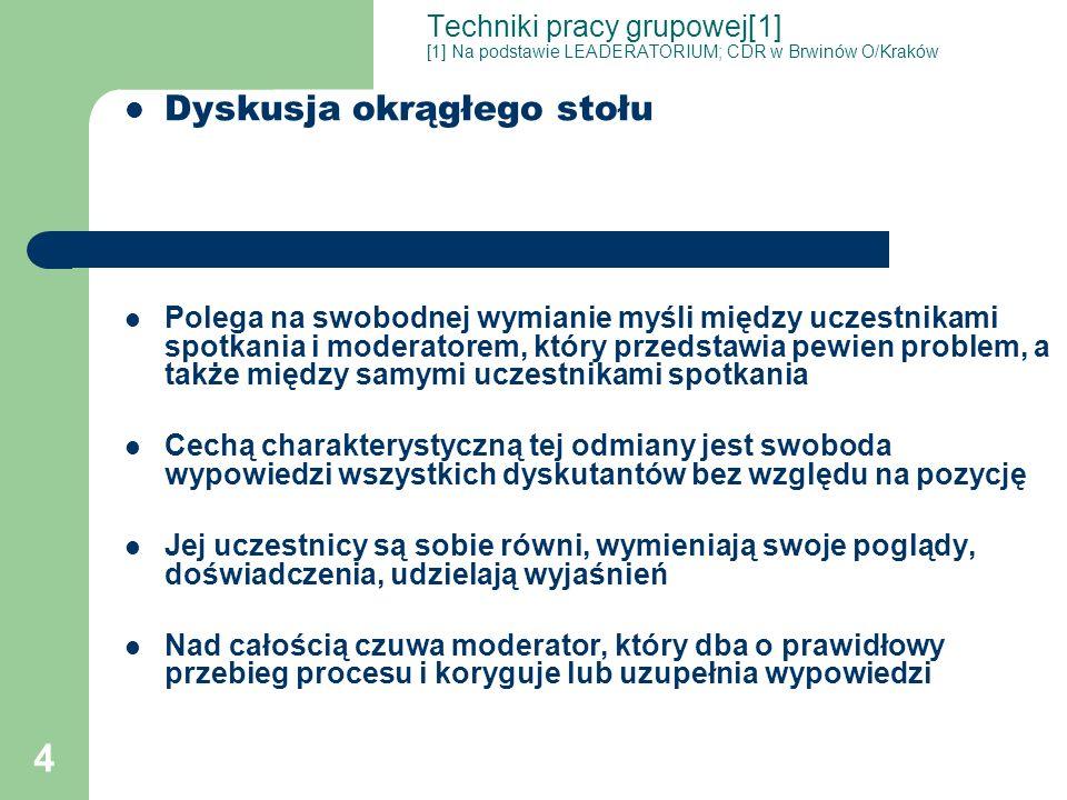 4 Techniki pracy grupowej[1] [1] Na podstawie LEADERATORIUM; CDR w Brwinów O/Kraków Dyskusja okrągłego stołu Polega na swobodnej wymianie myśli między