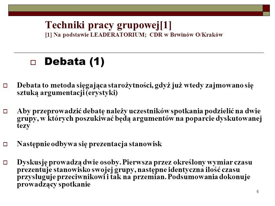 6 Techniki pracy grupowej[1] [1] Na podstawie LEADERATORIUM; CDR w Brwinów O/Kraków Debata (1) Debata to metoda sięgająca starożytności, gdyż już wted