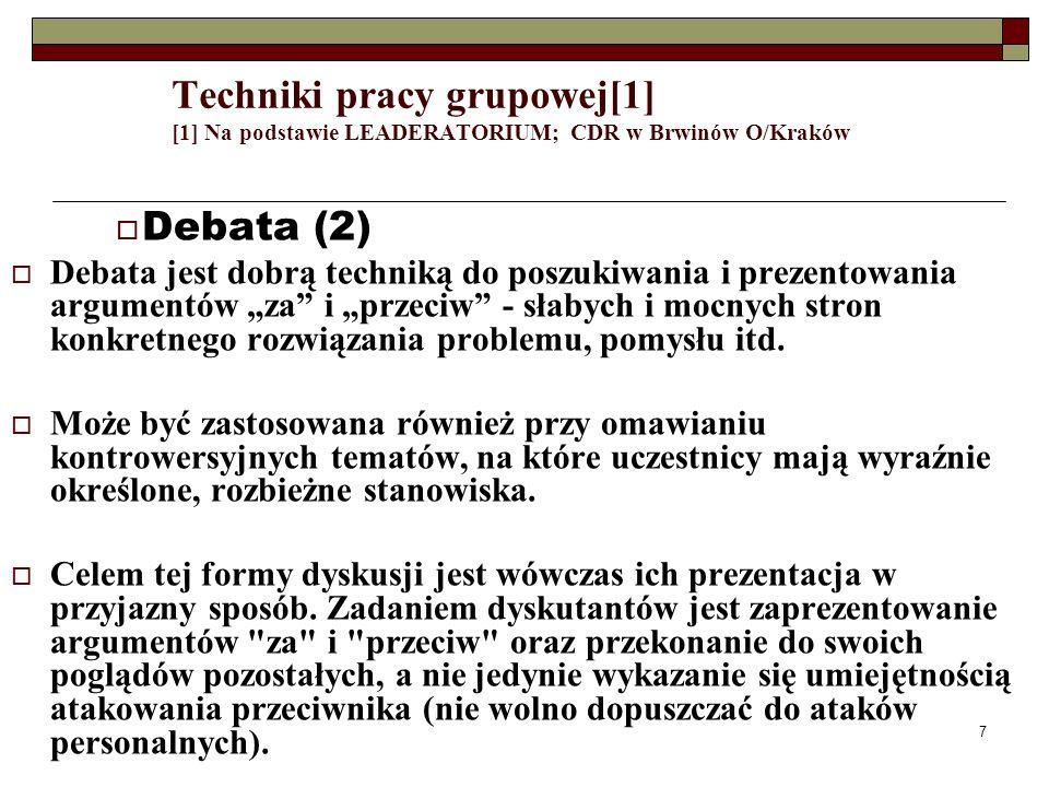 7 Techniki pracy grupowej[1] [1] Na podstawie LEADERATORIUM; CDR w Brwinów O/Kraków Debata (2) Debata jest dobrą techniką do poszukiwania i prezentowa