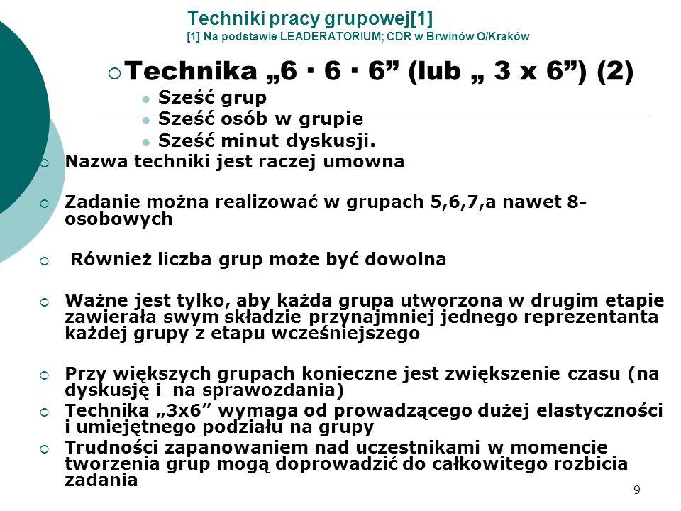 9 Techniki pracy grupowej[1] [1] Na podstawie LEADERATORIUM; CDR w Brwinów O/Kraków Technika 6 · 6 · 6 (lub 3 x 6) (2) Sześć grup Sześć osób w grupie
