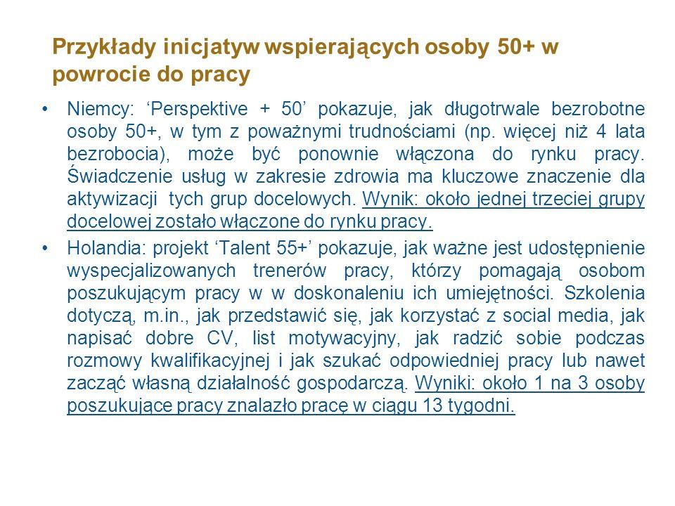 Przykłady inicjatyw wspierających osoby 50+ w powrocie do pracy Niemcy: Perspektive + 50 pokazuje, jak długotrwale bezrobotne osoby 50+, w tym z poważ