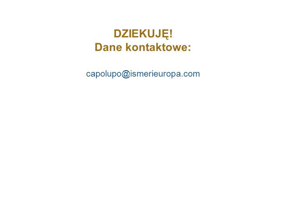DZIEKUJĘ! Dane kontaktowe: capolupo@ismerieuropa.com