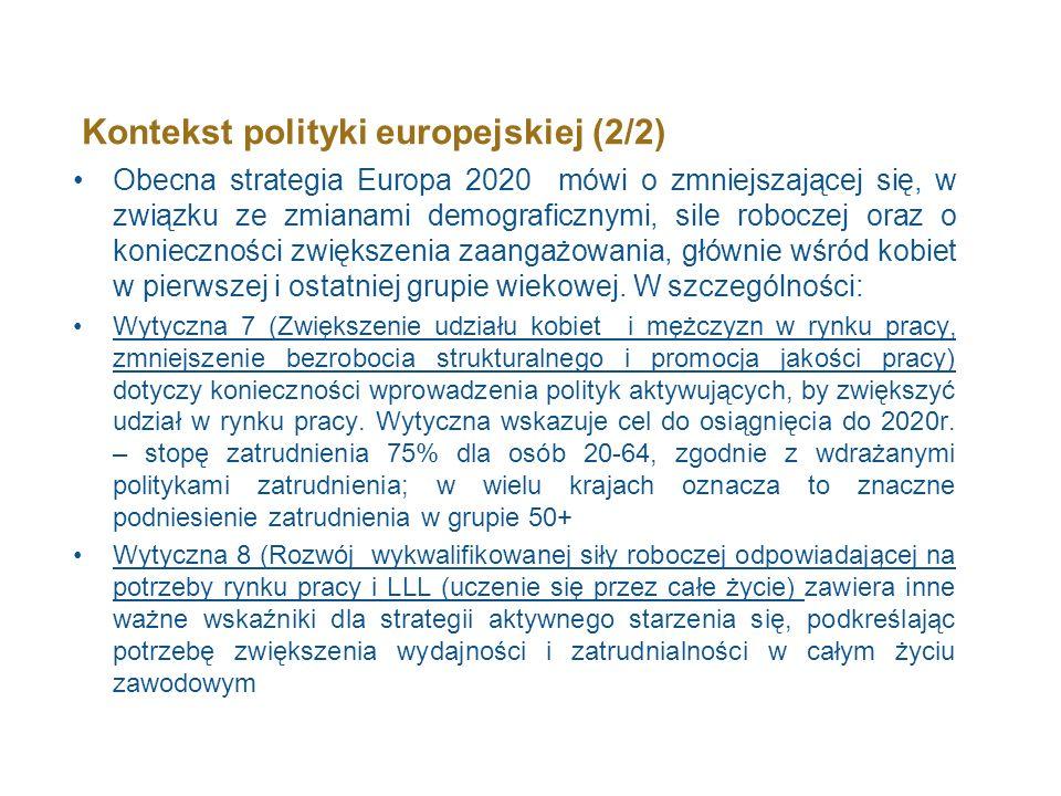 Kontekst polityki europejskiej (2/2) Obecna strategia Europa 2020 mówi o zmniejszającej się, w związku ze zmianami demograficznymi, sile roboczej oraz