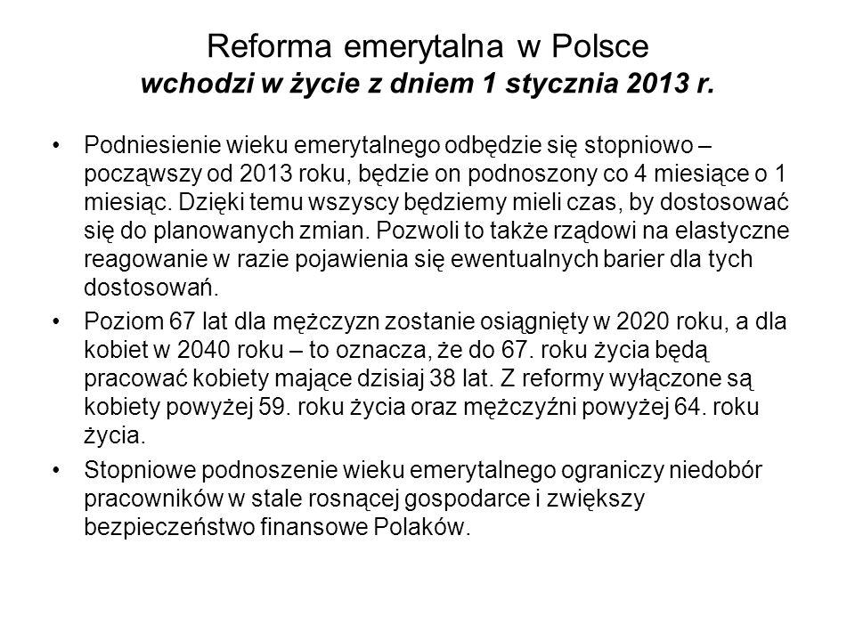 Reforma emerytalna w Polsce wchodzi w życie z dniem 1 stycznia 2013 r. Podniesienie wieku emerytalnego odbędzie się stopniowo – począwszy od 2013 roku