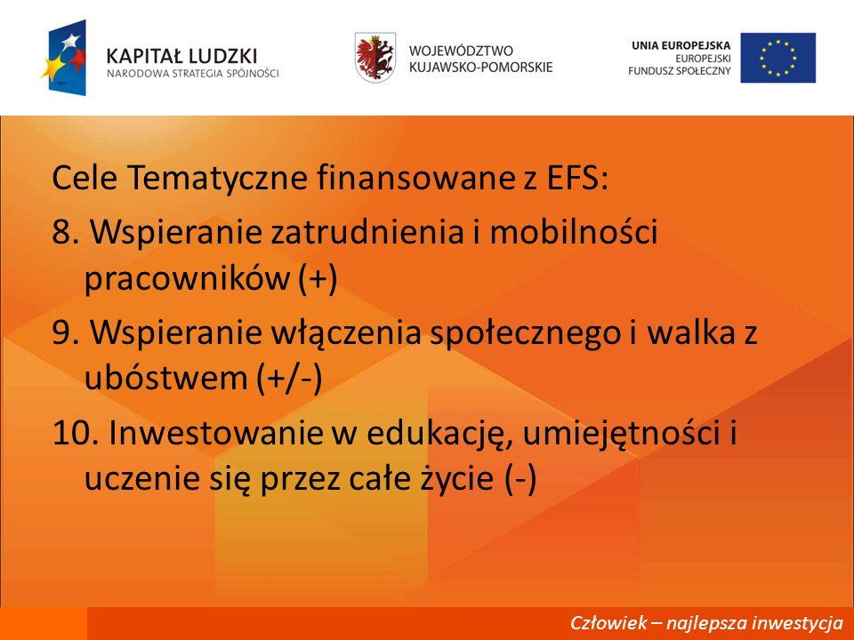Człowiek – najlepsza inwestycja Cele Tematyczne finansowane z EFS: 8. Wspieranie zatrudnienia i mobilności pracowników (+) 9. Wspieranie włączenia spo