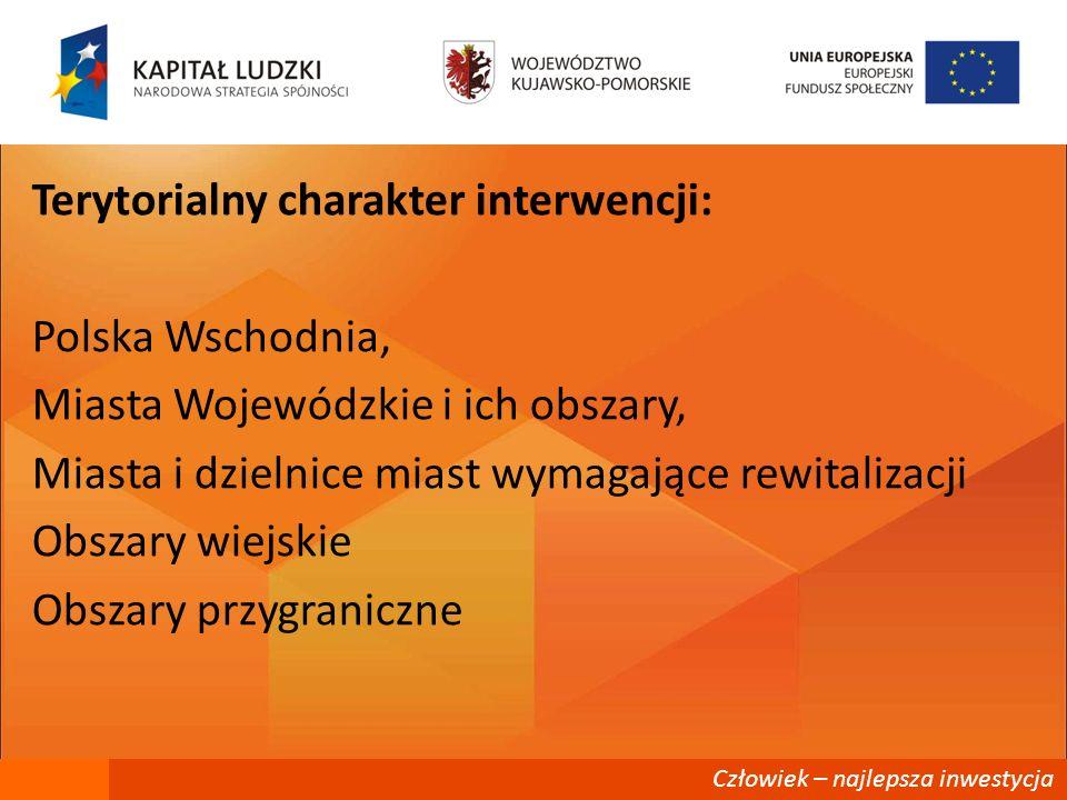 Człowiek – najlepsza inwestycja Terytorialny charakter interwencji: Polska Wschodnia, Miasta Wojewódzkie i ich obszary, Miasta i dzielnice miast wymag
