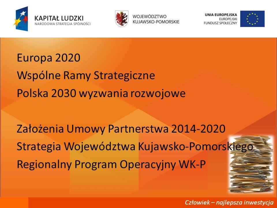 Człowiek – najlepsza inwestycja Europa 2020 Wspólne Ramy Strategiczne Polska 2030 wyzwania rozwojowe Założenia Umowy Partnerstwa 2014-2020 Strategia W