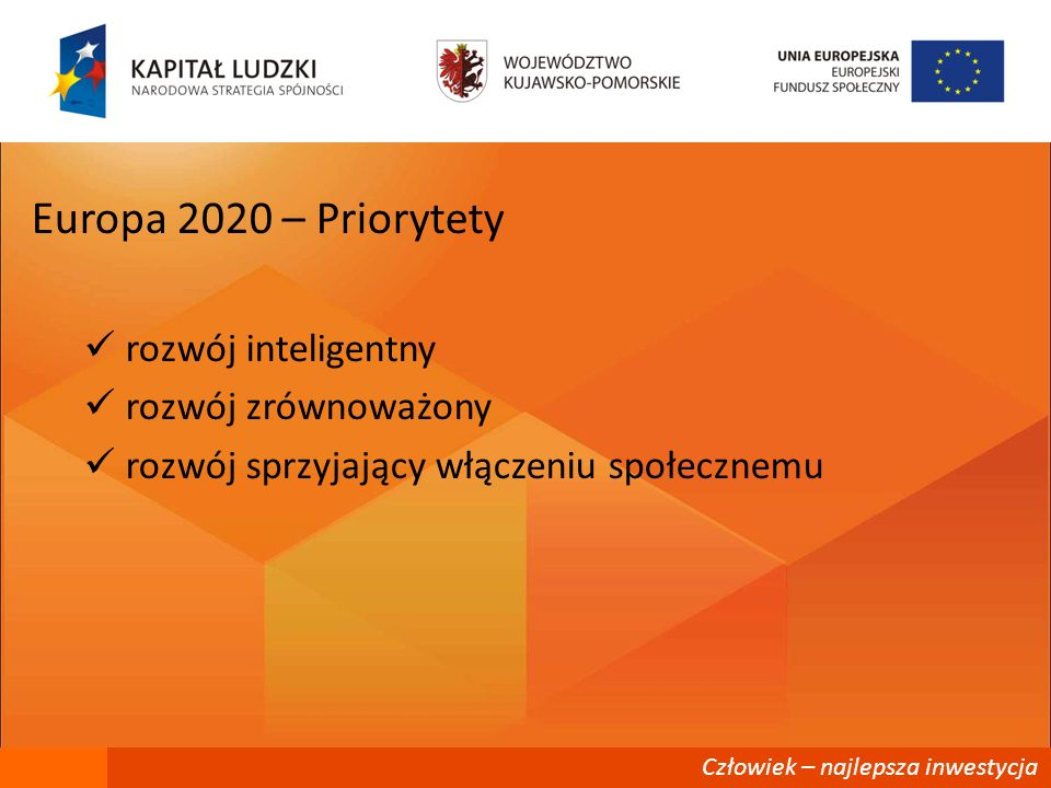 Człowiek – najlepsza inwestycja Europa 2020 – Cele wzrost stopy zatrudnienia z 69% - 75% (PL 71%) inwestycjw w działalność B+R - 3% PKB (PL 1,7%) Eco 20/20/20 ograniczenie wskaźnika przedwczesnego przerywania nauki do 10% (PL 4,5%) zwiększenie odsetka osób w wieku 30-34 z wyższym wykształceniem do 40% (PL 45%) Ograniczenie liczby europejczyków żyjących poniżej krajowej granicy ubóstwa o 25% (PL 20-23%)