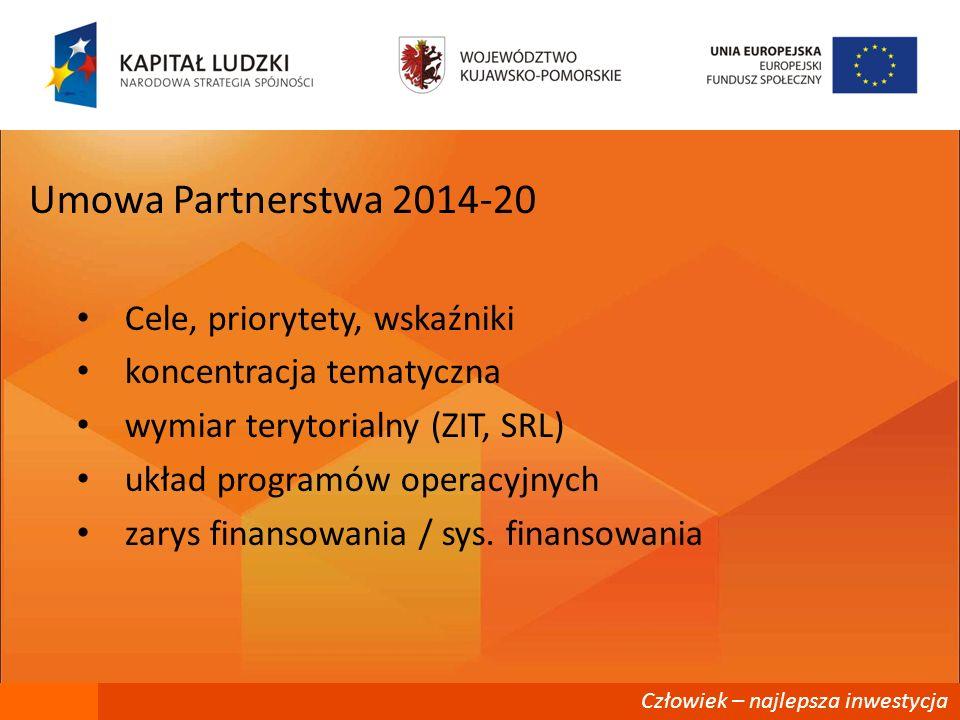 Człowiek – najlepsza inwestycja Założenia Umowy Partnerstwa 2014-20 koncentracja tematyczna na działaniach o największym potencjale przyrostowym i rozwojowym (ringfencing) powiązanie celów wydatkowania funduszy WRS – Strategia Rozwoju Kraju 2020 – Strategia Europa 2020 nacisk na rezultaty Zintegrowane podejście – wspólne interwencje ekonomiczne, społeczne i przestrzenne Zwiększenie stopnia koordynacji