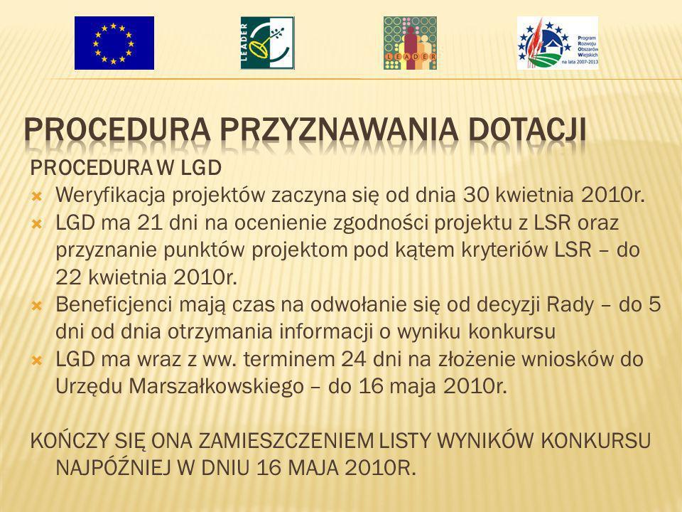 PROCEDURA W LGD Weryfikacja projektów zaczyna się od dnia 30 kwietnia 2010r. LGD ma 21 dni na ocenienie zgodności projektu z LSR oraz przyznanie punkt