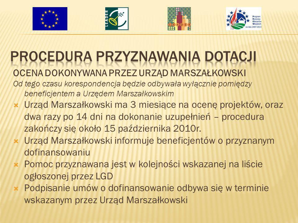 OCENA DOKONYWANA PRZEZ URZĄD MARSZAŁKOWSKI Od tego czasu korespondencja będzie odbywała wyłącznie pomiędzy beneficjentem a Urzędem Marszałkowskim Urzą